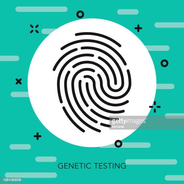 ilustraciones, imágenes clip art, dibujos animados e iconos de stock de identidad delgada línea icono de prueba genética - huella dactilar