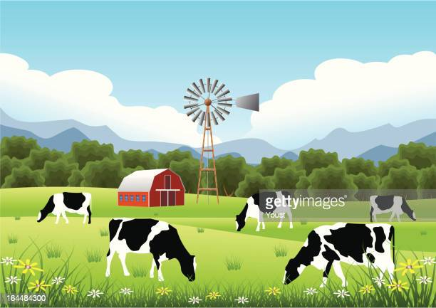 idyllic farm scene - cow stock illustrations