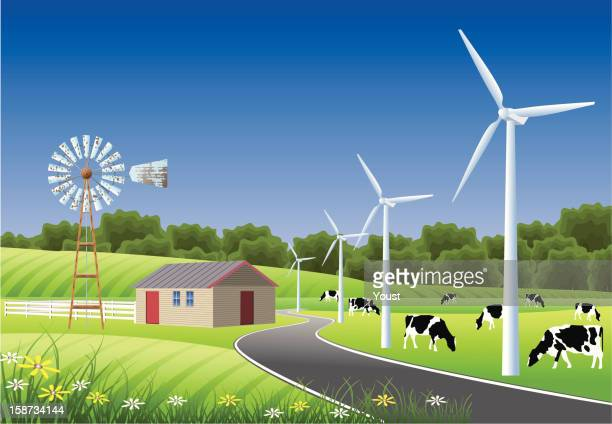 Idyllic Farm Scene with Windmills