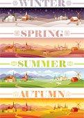 Idyllic farming landscape set. Winter, Spring, Summer, Autumn.