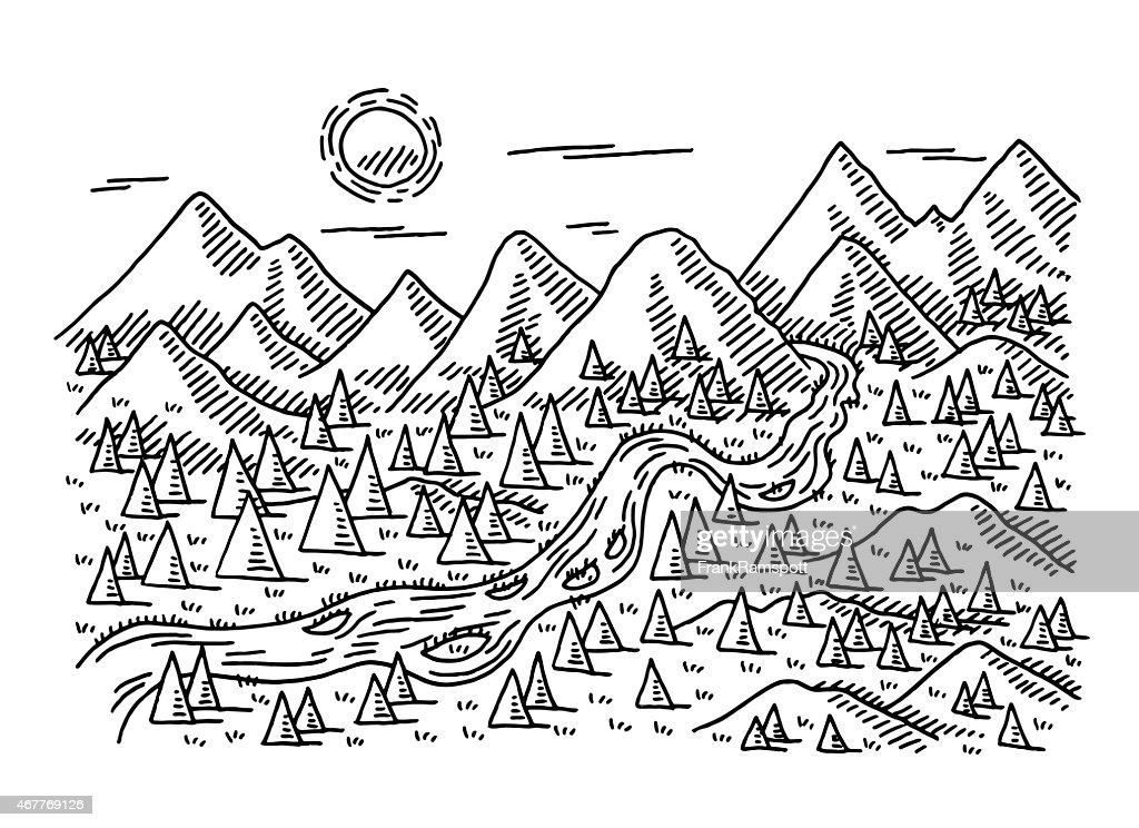 idyllic landscape trees river mountains drawing vector art