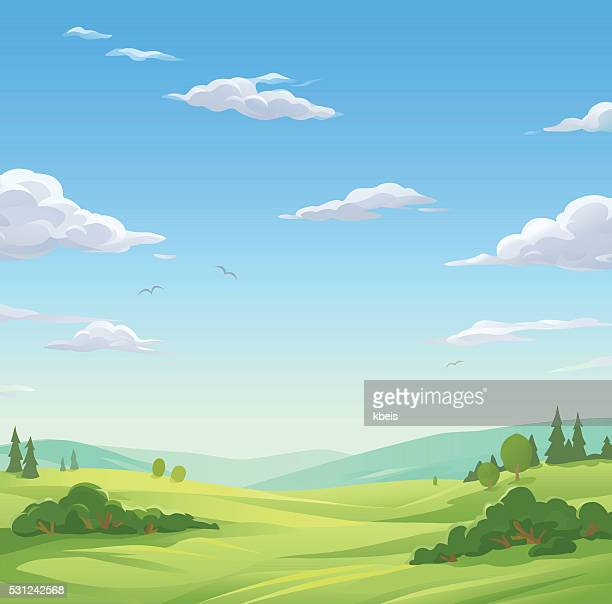 idyllic landscape - cloudscape stock illustrations, clip art, cartoons, & icons