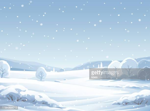 idyllic snowy winter landscape - non urban scene stock illustrations