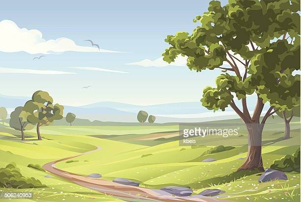 idyllic summer landscape - horizontal stock illustrations
