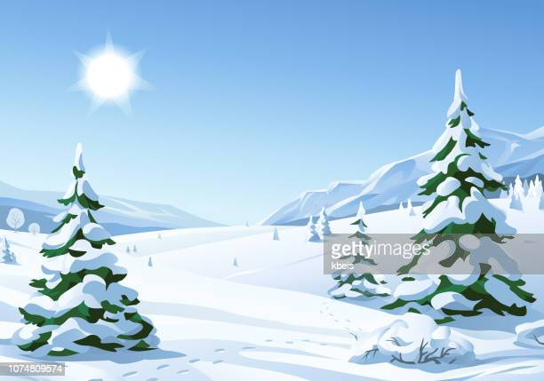 idyllic sunny winter landscape - winter stock illustrations