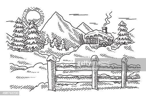 Idyllic Winter Mountain Landscape Drawing Vector Art