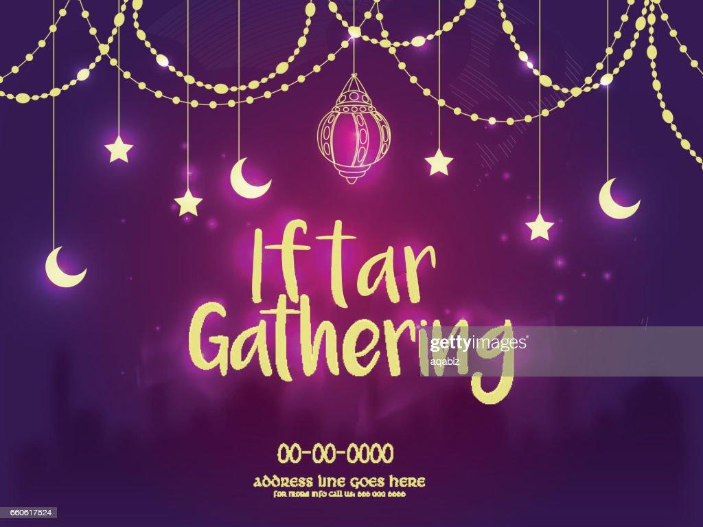 Iftar Gathering Invitation Background, Ramadan Concept.