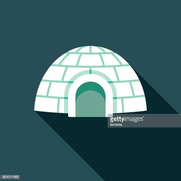 illustrations, cliparts, dessins animés et icônes de igloo design plat vedette canadienne avec côté ombre - igloo
