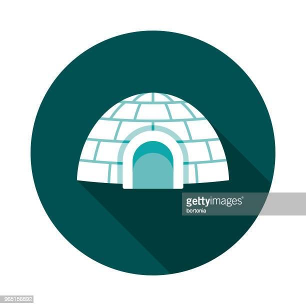 illustrations, cliparts, dessins animés et icônes de icône en hiver igloo design plat avec côté ombre - igloo
