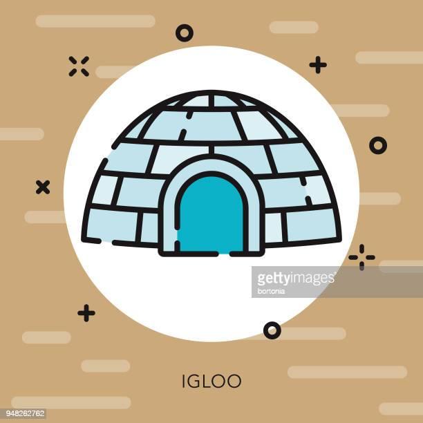 illustrations, cliparts, dessins animés et icônes de igloo contour ouvert icône canadienne - igloo