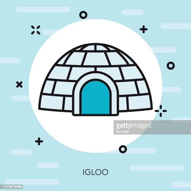 illustrations, cliparts, dessins animés et icônes de igloo fine ligne hiver icône - igloo