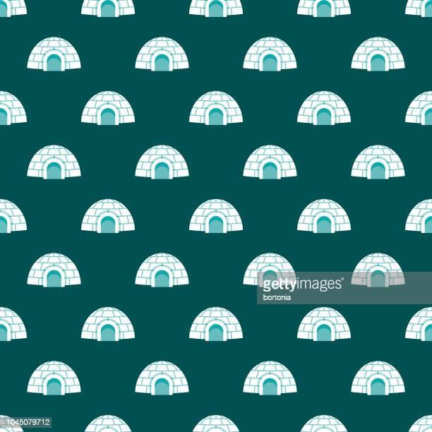 illustrations, cliparts, dessins animés et icônes de igloo hiver seamless pattern - igloo
