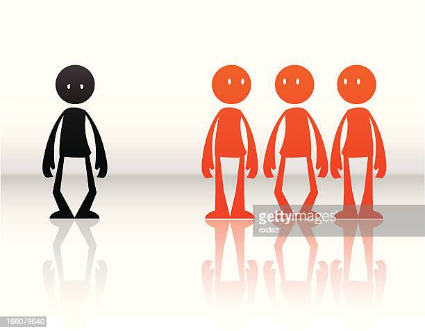 ignored from a team - prejudice stock illustrations, clip art, cartoons, & icons