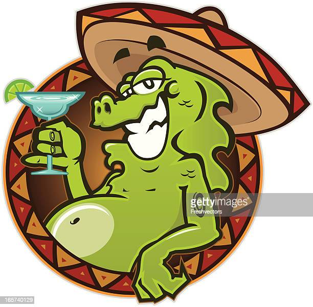 iguana with margarita - margarita stock illustrations