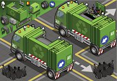 Iisometric Garbage Truck in Rear View