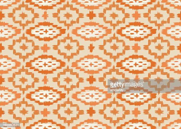イカット柄シームレスなパンプキンオレンジ色 - イカット点のイラスト素材/クリップアート素材/マンガ素材/アイコン素材