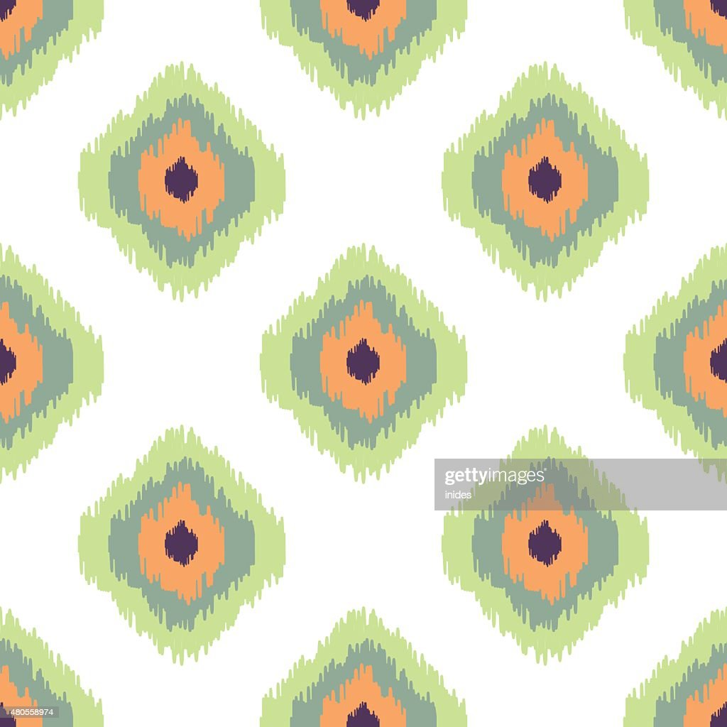 Ikat vector seamless pattern. Abstract geometric background for fabric, print : Vector Art