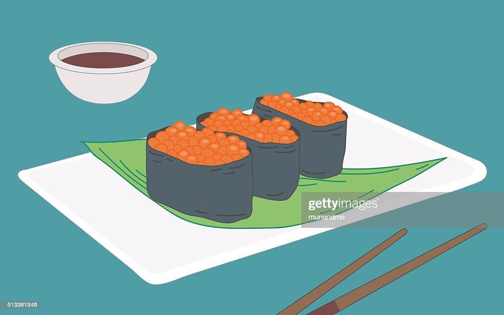 Ikura gunkan, salmon roe sushi