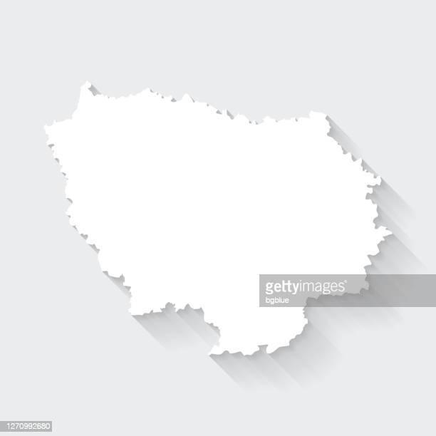 illustrations, cliparts, dessins animés et icônes de carte d'ile-de-france avec une longue ombre sur fond blanc - flat design - île de france