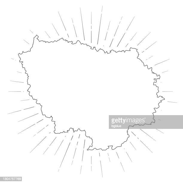 illustrations, cliparts, dessins animés et icônes de carte d'ile-de-france avec rayons du soleil sur fond blanc - île de france