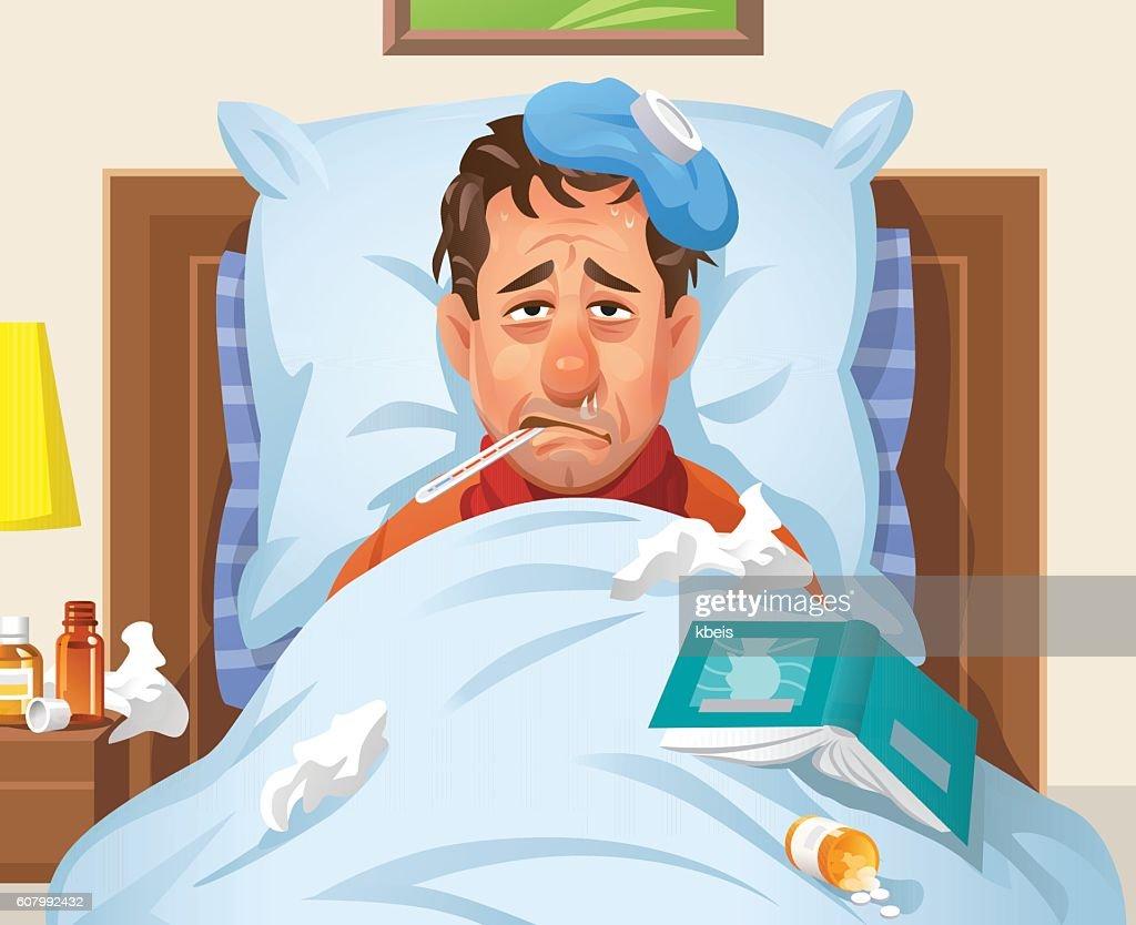 ベッドに横たわっている病気の男 : ストックイラストレーション