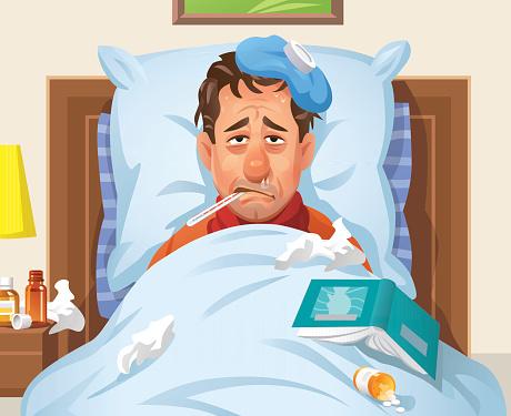 Ill Man Lying In Bed - gettyimageskorea