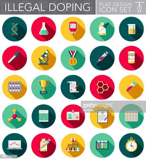 Conjunto de iconos de diseño plano el dopaje ilegal
