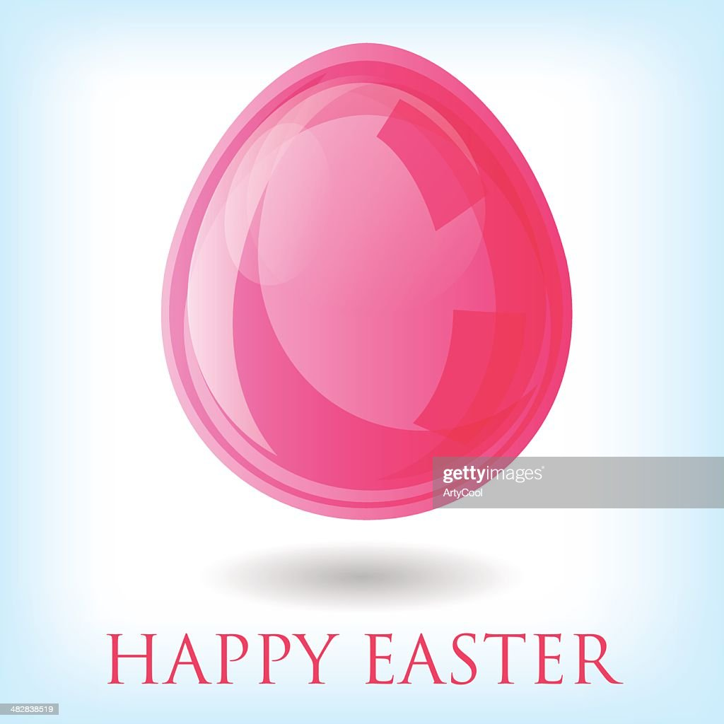 Illillustration of pink easter egg on a white background