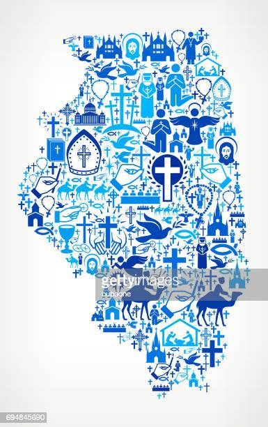 Illinois Christianity and Religion Vector Icons Background