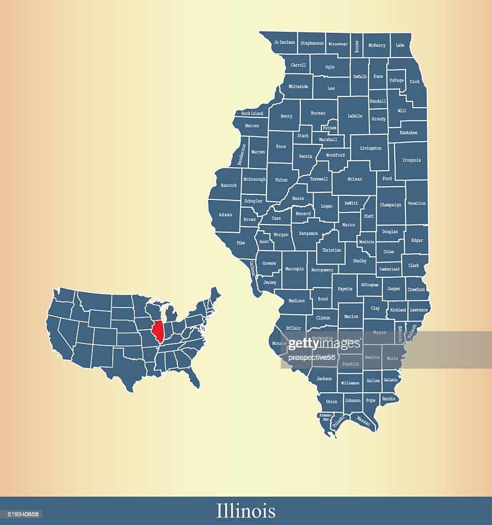Illinois county map outline vector illustration in creative design