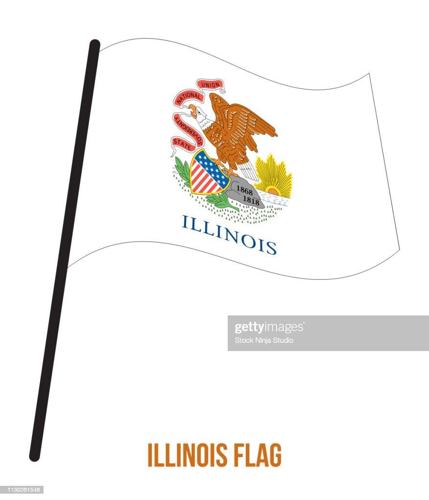 Illinois (U.S. State) Flag Waving Vector Illustration on White Background. Flag of the United States of America.