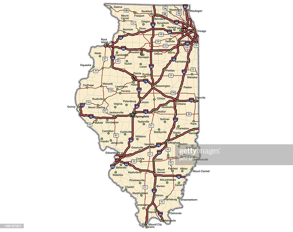 Illinois Highway Map (vector)