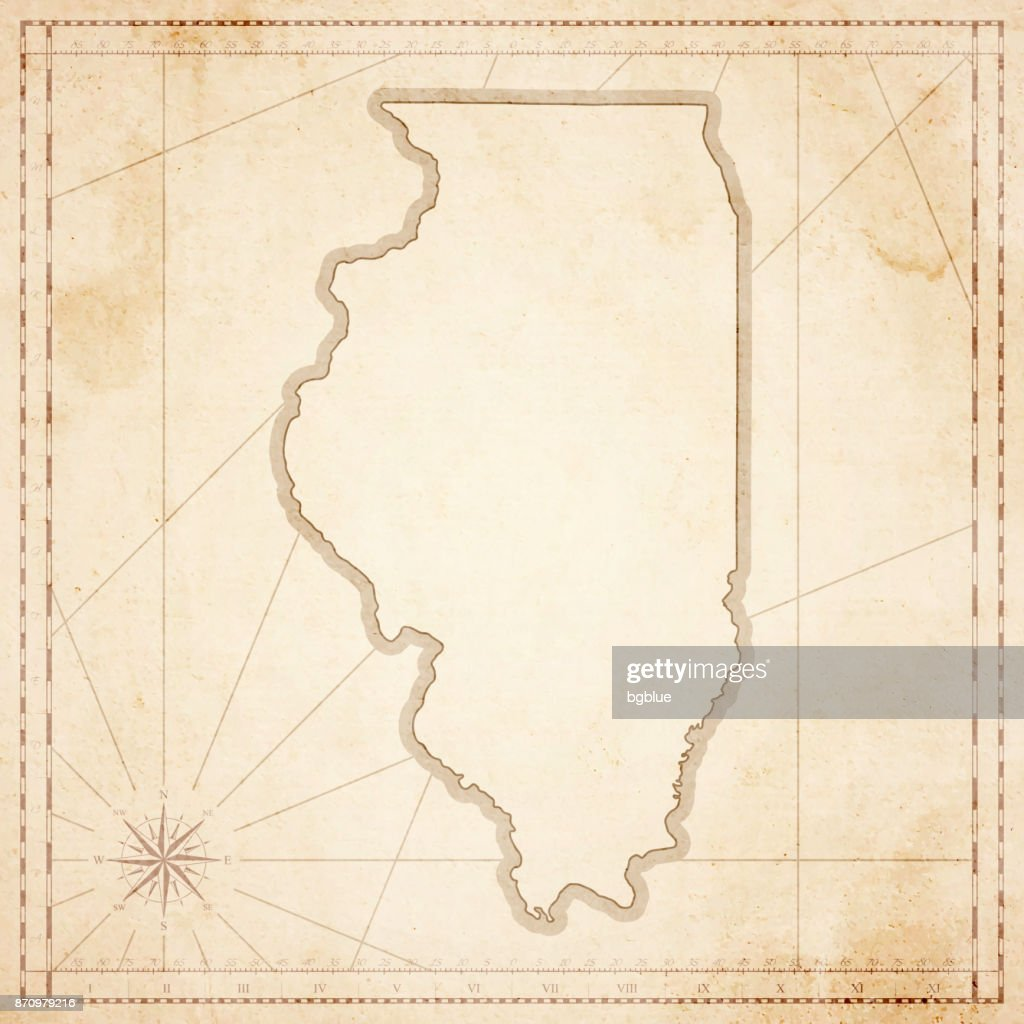 Illinois Map In Retro Vintage Style