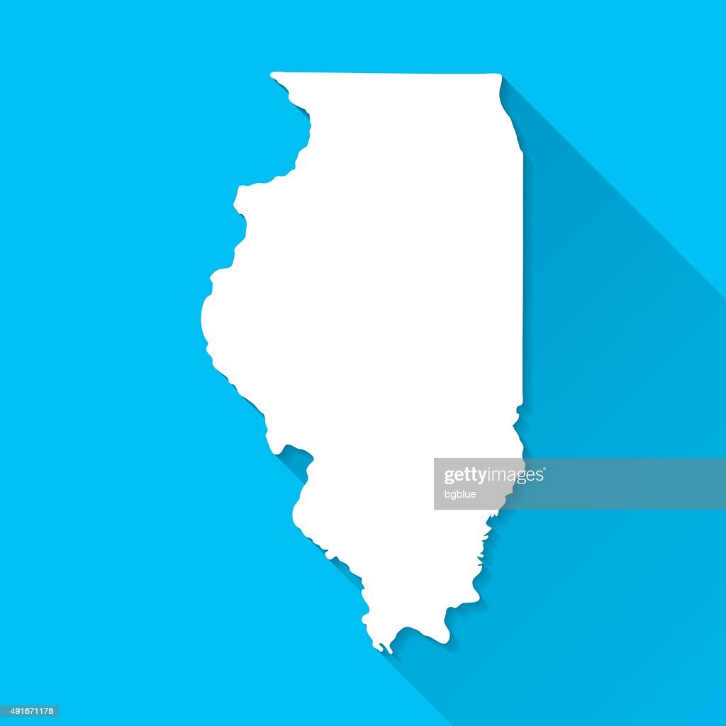 Illinois Map on Blue Background, Long Shadow, Flat Design