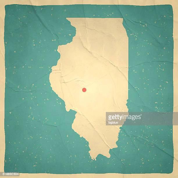 Illinois Map on old paper - vintage texture