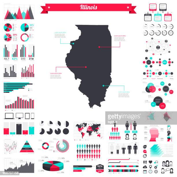illinois map with infographic elements - big creative graphic set - illinois stock illustrations