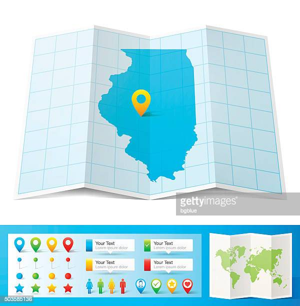 Illinois Map with location pins isolated on white Background