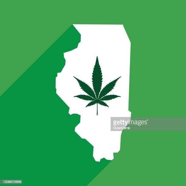 illinois marijuana map - illinois stock illustrations