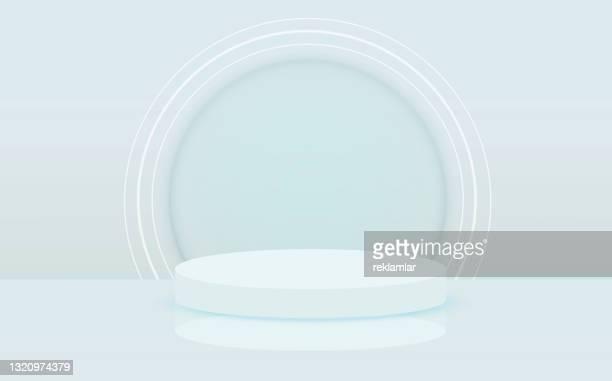 stockillustraties, clipart, cartoons en iconen met verlicht abstract rond podium met witte lichte vectorachtergrond. de achtergrond van het stadium. rond voetstuk. het podium van het stadium met verlichting, de scène van het stadiumpodium met voor toekenningsceremonie op blauwe achtergrond, vectorillustra - winners podium