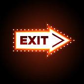 Illuminated arrow shaped 3D exit sign