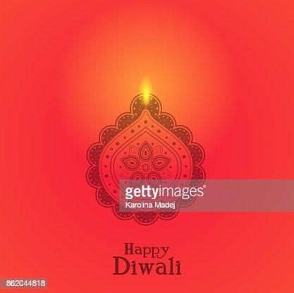 Beleuchtete Diya Indische Öllampe Konzept Der Karte Für