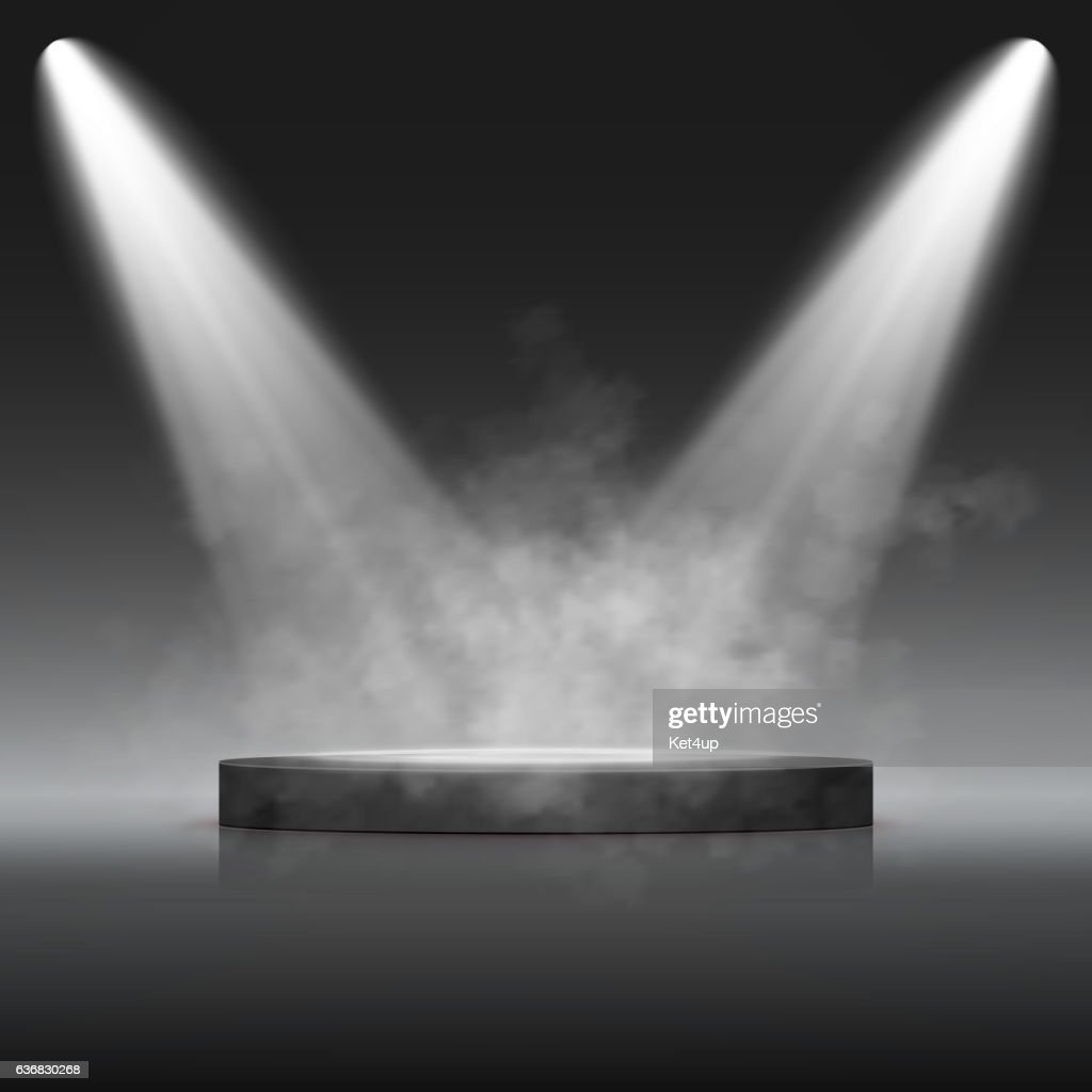 Illuminated Festive Stage Podium Scene for Award Ceremony. Vector