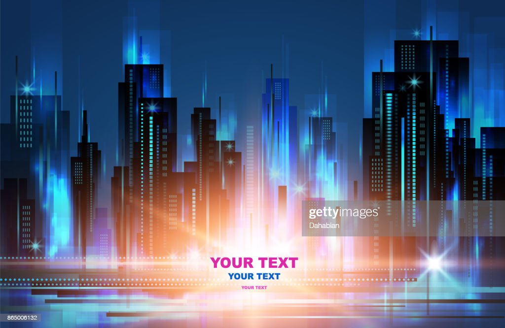 Illuminated night city skyline, vector illustration