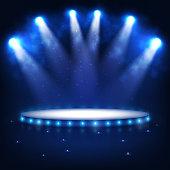Vector Isolated Spotlight Illuminated Podium For Presentation In The Dark