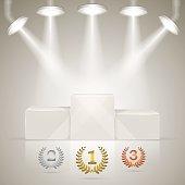 Illuminated sport winners pedestal with awards