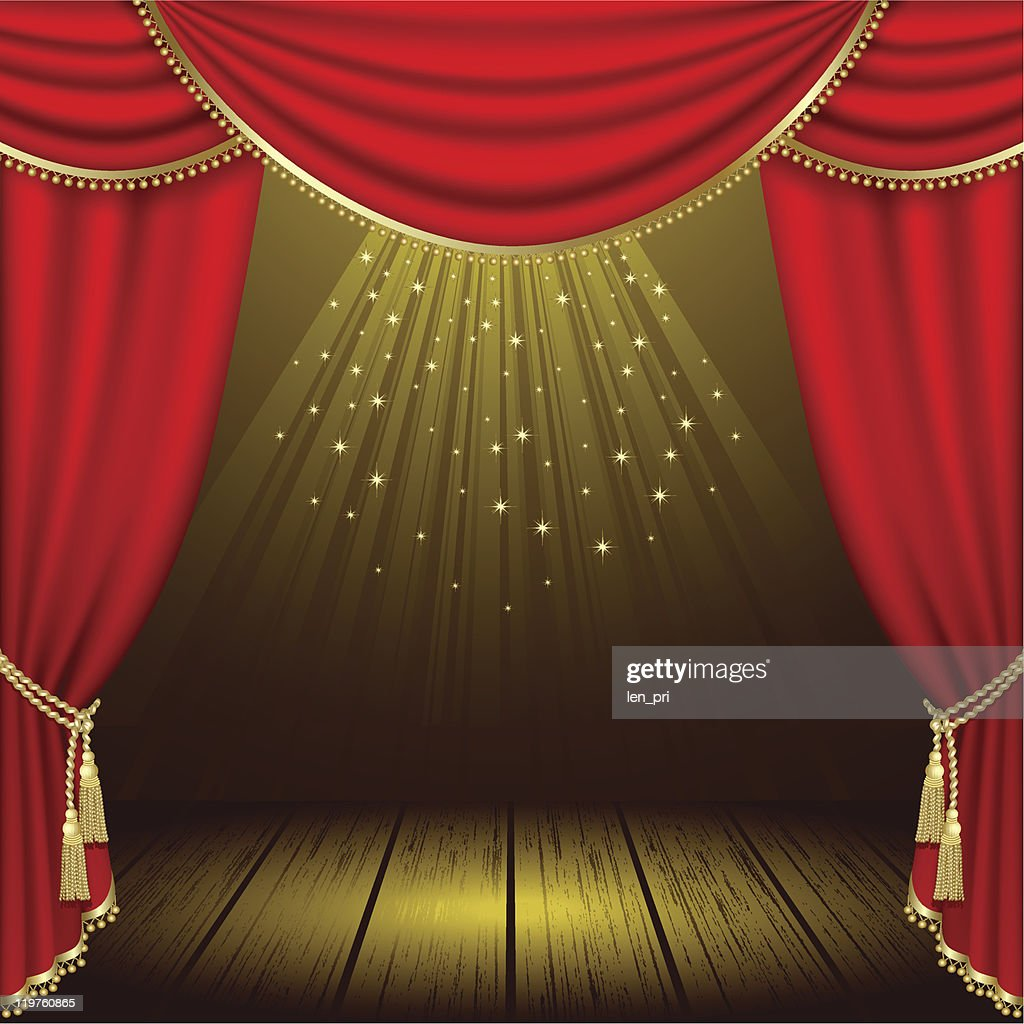 Illuminated stage theater with red curtains