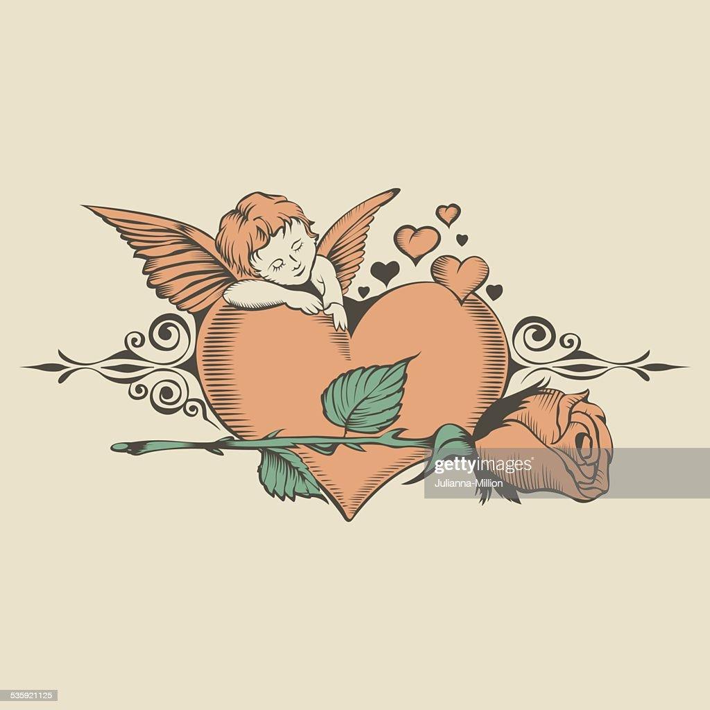 Illustation of Valentine's Day card : Vector Art