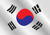 Illustrate of South Korea flag waving.