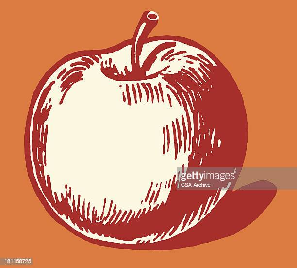 Illustrated apple on red background