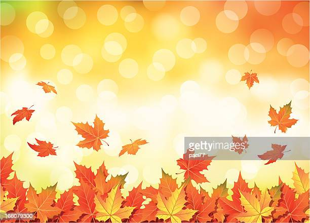 illustrated autumn falling leaves background - falling stock illustrations
